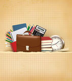 Back to school Background with school supplies and Royalty Free Stock Photos