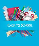 Back to school. Background with school supplies. Vector Stock Image