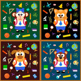 Back to school background set with animals Stock Images