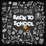 Back to school background set on black board. Back to school background set on black chalk board stock illustration