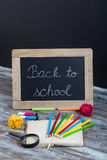 Back to school background with special school supplies, end of h Royalty Free Stock Image