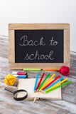 Back to school background with special school supplies, end of h Stock Image