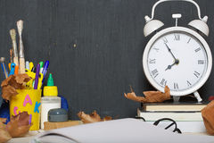 Back to school background. Back to school stationery is on the table. Chalkboard background Stock Photo