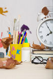 Back to school background. Back to school stationery is on the table. Chalkboard background Royalty Free Stock Images