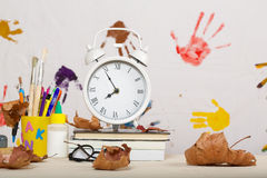Back to school background. Back to school stationery is on the table. Chalkboard background Stock Images