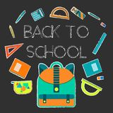 Back to school background with study equipment. Flat colorful back to school background with study equipment on white chalk frames . Education symbol for Royalty Free Illustration