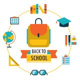 Back to school background with study theme icons Backpack glasses books etc Stock Image