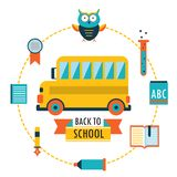 Back to school background with study theme icons. School bus Vector illustration Stock Photos