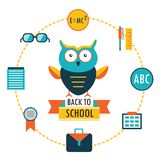 Back to school background with study theme icons Lovely cartoon owl Stock Photos