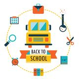 Back to school background with study theme icons. Vector illustration Stock Images
