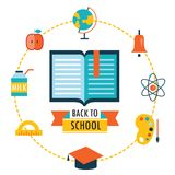 Back to school background with study theme icons. Vector illustration Royalty Free Stock Photos