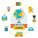 Back to school background with study theme icons. Vector illustration Royalty Free Stock Images
