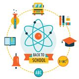 Back to school background with study theme icons. Vector illustration Stock Photography