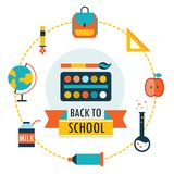 Back to school background with study theme icons. Vector illustration Stock Image