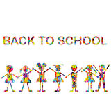 Back to school background with stylized patterned kids Royalty Free Stock Image
