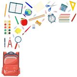 Back to school background. With school supplies in school bag big set. vector illustration in flat design Stock Photography