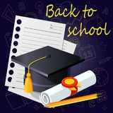 Back to school background with school supplies. illustration. stock illustration