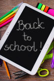 Back to school background with tablet pc Royalty Free Stock Photos
