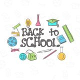 Back to School background with different elements. royalty free illustration