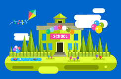 Back to school background. Vector building Royalty Free Stock Image