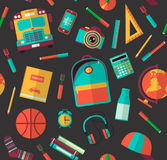 Back to school seamless pattern on a dark background.  Royalty Free Stock Photography