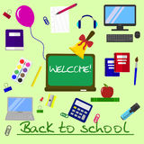 Back to school background, vector illustration. Royalty Free Stock Photography