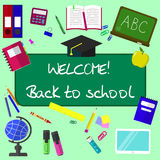Back to school background, vector illustration. Stock Image