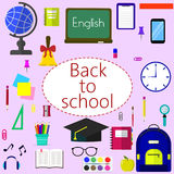 Back to school background, vector illustration. Back to school background with school supplies set, vector illustration Stock Image