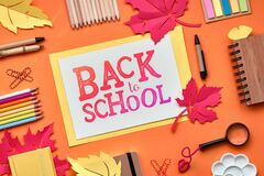 Free Back To School Background With Supplies And Paper Leaves, Text \ Back To School Stock Photo - 169303070