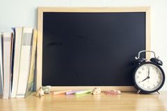 Back to school background on wooden table.