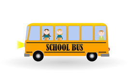 Back to School Background with Yellow Bus and Children. Vector I Stock Images
