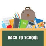 Back to School. Backpack with flying school supplies set. Royalty Free Stock Photos