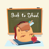 Back To School Backpack Over Class Board Education Banner Stock Photos