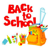 Back to School. Backpack and a set of school supplies. Vector illustration Stock Photography