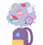 Back To School, Backpack With Clock Books Pencil Ruler And Apple, Elementary Education Cartoon Royalty Free Stock Images