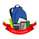 Back to school badge, backpack with school supplies, vector illustration Stock Images