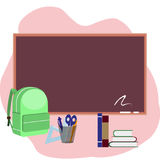 Back to school with bag with books, pen, pencil and line . Vector illustration. Back to school. supplies and blackboard on pink background. Cool template with vector illustration