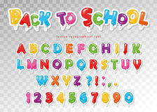Back to school. Balloon colorful font for kids. Funny ABC letters and numbers. For birthday party, baby shower. Royalty Free Stock Photos