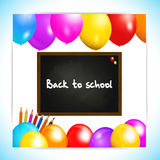 Back to school balloons panel background Stock Photos