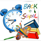 Back to school banner, Alarm Clock,Schoolbag with brushes. Back to school banner,Alarm Clock,Schoolbag with brushes and books,Study icon,vector Royalty Free Stock Image