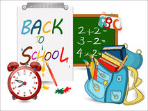 Back to school banner, Alarm Clock,Schoolbag with brushes. Back to school banner, sign, Alarm Clock,Schoolbag with brushes and books, green board,Study icon Royalty Free Stock Image