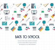 Back to school banner, background, concept with seamless border. Flat design. Vector Stock Photography