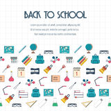 Back to school banner, background, poster, concept with seamless border. Flat design. Vector Royalty Free Stock Image