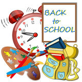 Back to school banner, Big red alarm clock,Schoolbag. Back to school banner, sign, Big red alarm clock,Schoolbag with brushes and colors, study icon Royalty Free Stock Photography