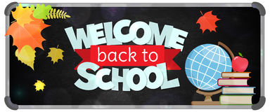 Back to school banner. Blackboard with greeting, First of September, Back to school sale horizontal banner. Vector Royalty Free Stock Photo