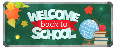 Back to school banner. Blackboard with greeting, First of September, Back to school sale horizontal banner. Vector Royalty Free Stock Photography