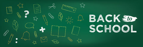 Back to school banner. Chalk drawing on blackboard. Back to school banner. Chalk drawing on school blackboard. School education icons. Learning concept Royalty Free Stock Photos