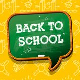 Back to School banner with chalkboard speech bubble, texture from line art icons of education, science objects and. Office supplies on the yellow background royalty free illustration