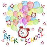 Back to school banner. With color baloons and red clocks in the air,study icon Stock Images