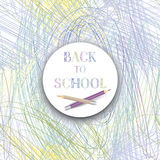 Back to school. Banner with color pencils over kids drawing back Stock Photography